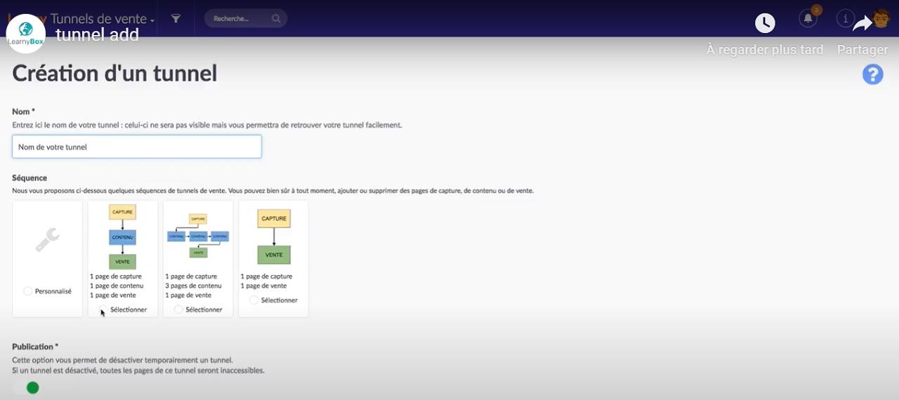 Création d'un tunnel sur LearnyBox