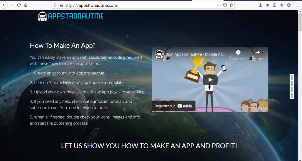 créer une application gratuitement avec AppstronautME